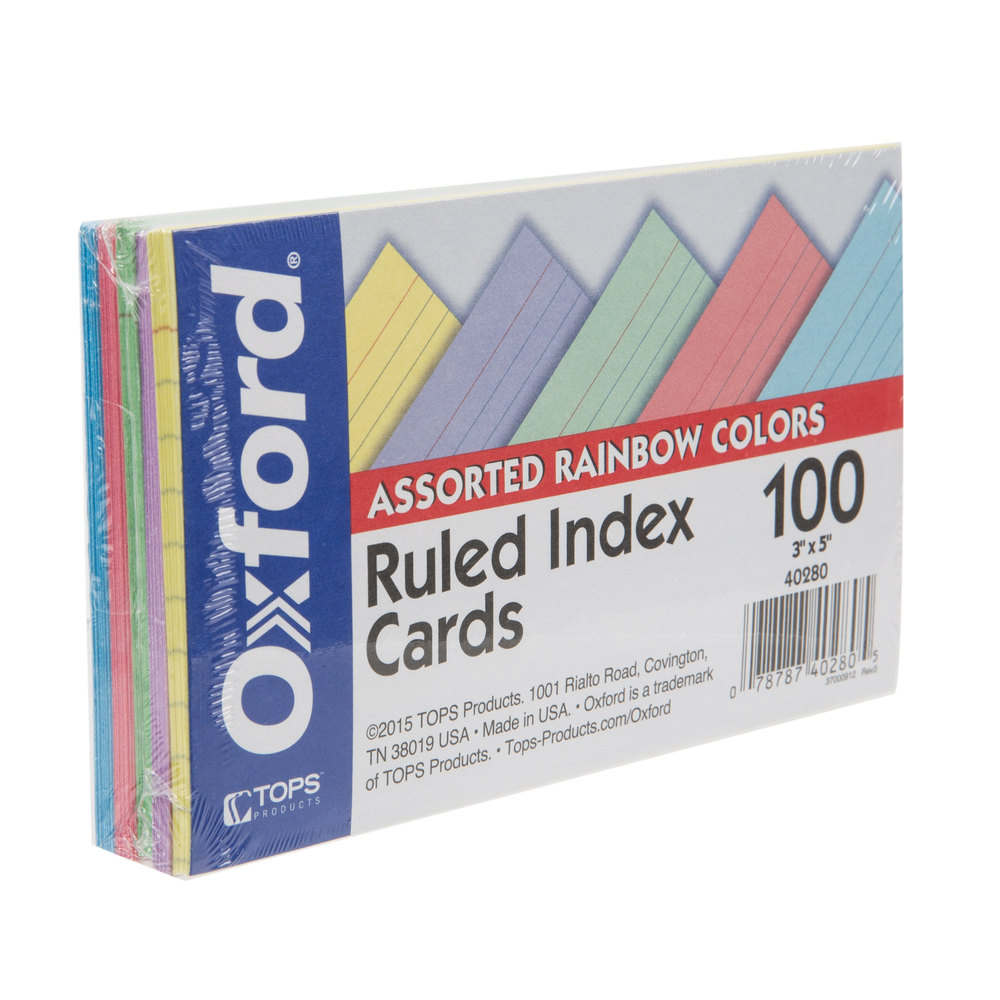 Image For INDEX CARD 3X5 RAINBOW