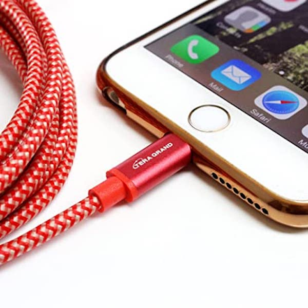 Image For USB CABLE- Red/10ft TERA GRAND LIGHTNING CABLE